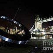 Night View Of The Thames Riverbank Art Print