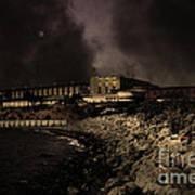 Nightfall Over Hard Time - San Quentin California State Prison - 5d18454 - Partial Sepia Art Print