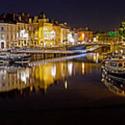 Nighttime Along The River Leie Art Print