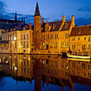 Nighttime Brugge Art Print