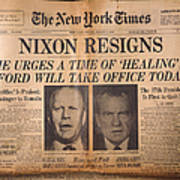 Nixon Resigns: Newspaper Art Print