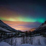 Northern Lights In Snow Valley Art Print