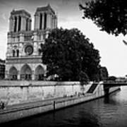 Notre Dame Along The Seine Art Print