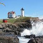 Nubble Lighthouse With Seagull And Ocean Spray Art Print