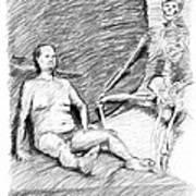 Nude Man With Skeleton Art Print