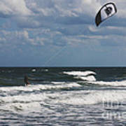 October Beach Kite Surfer Print by Susanne Van Hulst