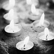 Offering Candles Burning In A Church Art Print