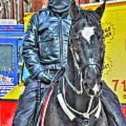 Officer And Black Horse Art Print