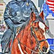 Officer On Brown Horse Art Print