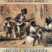 Oh Carry Me Back To Ole Virginny, 1859 Art Print