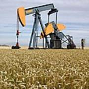 Oil Pump In A Wheat Field Art Print