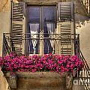 Old Balcony With Red Flowers Art Print by Mats Silvan
