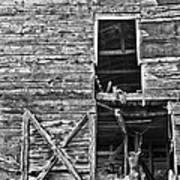 Old Barn Door In Black And White Art Print