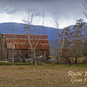 Old Barn In Southern Oregon With Text Art Print