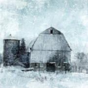 Old Barn In Winter Snow Art Print