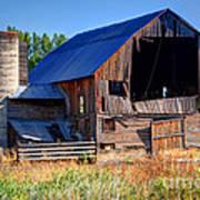 Old Barn With Concrete Grain Silo - Utah Art Print