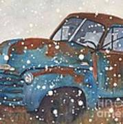 Old Blue Chevy Winter Storm Art Print