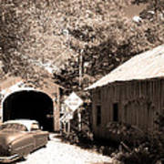 Old Car Older Barn Oldest Bridge Art Print