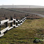 Old Fence And Landscape Along Sir Francis Drake Boulevard At Point Reyes California . 7d9897 Art Print by Wingsdomain Art and Photography