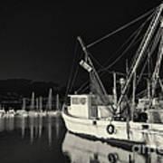 Old Fishing Boat At Texas Gulf Coast Art Print