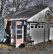 Old Gas Station Signs And A Soon To Be Outdated Phone Booth Art Print