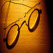 Old Glasses On Braille  Art Print