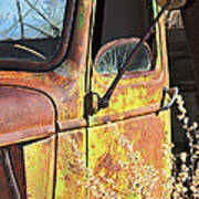 Old Green Truck Door Art Print