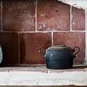 old kitchen - A part of a traditional kitchen with a vintage metal pot  Art Print