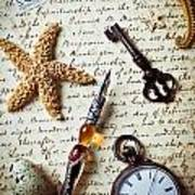 Old Letter With Pen And Starfish Art Print