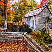 old mill Smoky Mountains Art Print
