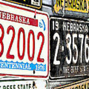 Old Nebraska Plates Art Print