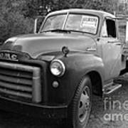Old Nostalgic American Gmc Flatbed Truck . 7d9821 . Black And White Art Print by Wingsdomain Art and Photography