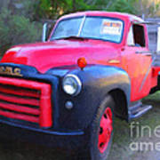 Old Nostalgic American Gmc Flatbed Truck . 7d9821 . Photo Art Art Print by Wingsdomain Art and Photography