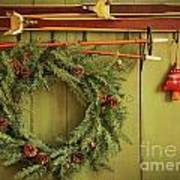 Old Pair Of Skis Hanging With Wreath  Art Print
