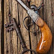Old Pistol And Skeleton Key Art Print by Garry Gay