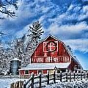 Old Red Barn Hdr Art Print