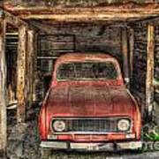 Old Red Car In A Wood Garage Art Print