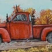 Old Red Truck Going Down The Road Art Print