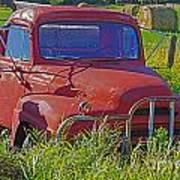 Old Red Truck Art Print