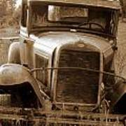 Old Rustic Ford-sepia Art Print