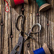 Old Scissors And Spools Of Thread Art Print