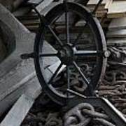 Old Ships Wheel, Chains And Wood Planks Art Print