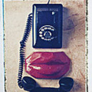 Old Telephone And Red Lips Art Print