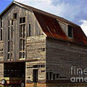 Old Wagon Older Barn Different View Art Print