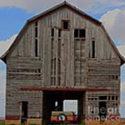 Old Wagon Older Barn Panoramic Stitch Art Print