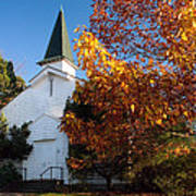 Old White Church In Autumn Art Print