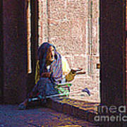 Old Woman In Centro Art Print
