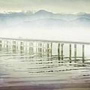 Old Wooden Bridge Into A Mountain Lake On A Foggy Morning Art Print