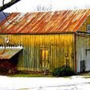 Old Yellow Barn Art Print