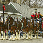 Olde Tyme Travel Clydesdales Art Print